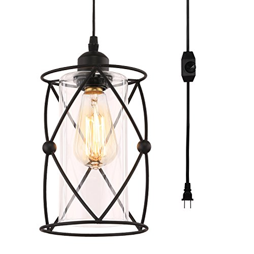 - Creatgeek Plug-In Modern Industrial Glass Pendant Light with 16.4'(Ft)Cord and In-Line On/Off Dimmer Switch,Black Finish Cylinder Style