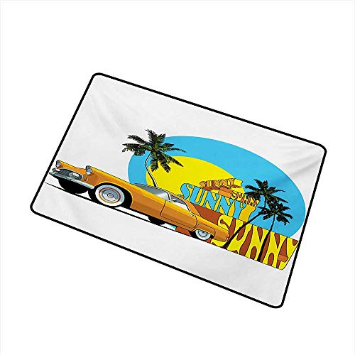 BeckyWCarr Retro Front Door mat Carpet Vintage Car in Magic City Miami with Exotic Coconut Trees Sunny Day Beach Machine Washable Door mat W31.5 x L47.2 Inch,Yellow Blue Orange