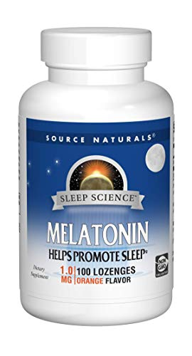 Souce Naturals Sleep Science Melatonin 1mg Orange Flavor Promotes Restful Sleep and Relaxation -Supports Natural Sleep/Wake Patterns and Rhythms 100 Lozenges (Pack of 2)