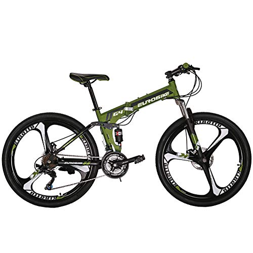 Eurobike OBk G4 Folding Mountain Bike 21 Speed Bicycle Full Suspension MTB Foldable Frame 26' 3 Spoke Wheels (Green)