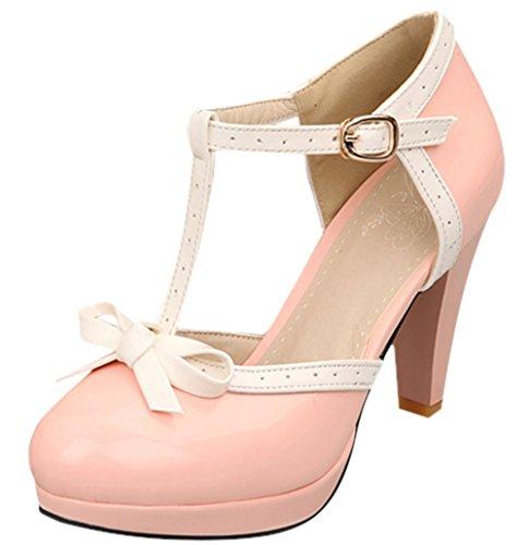 Plateforme Talon Chaussures Escarpins Bowknot Cheville Rond Haut Bride Bevalsa Femme Epais Bout Sexy Rose Suédé SYwxO8p8q