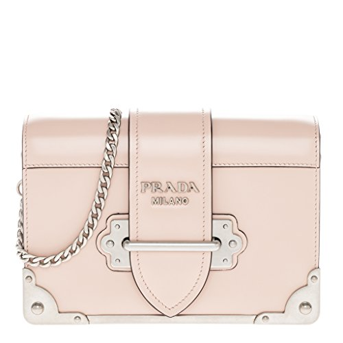 Prada Women's Cahier Leather Bag Pink (Prada Leather Shoulder Handbag Bag)