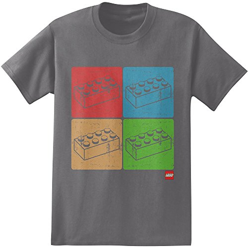 Lego Four Blocks Adult T-Shirt-Grey (Large) (Lego 10188 Best Price)