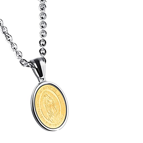 Unisex Mens Womens Guadalupe Medal Catholic Stainless Steel Oval Pendant Necklace High Polish - Lady Guadalupe Medal Pendant