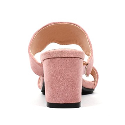 Coolcept Women Fashion Mules Block Heel Pink hQkBmQ