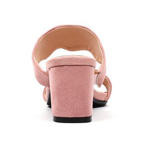 Mules Heel Women Mid Pink TAOFFEN Fashion AxRwEZqSZ