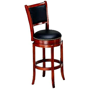 Soft Faux Leather Swivel Bar Stool With Leather Backrest In Cherry Finish