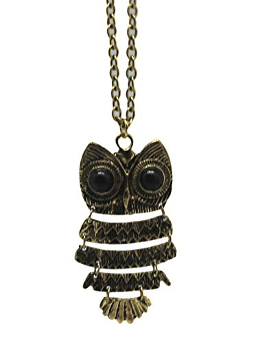 (Faux Onyx Black-Eyed Gold Colored Owl Sectional Pendant Necklace - by Ganz)