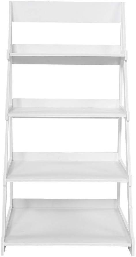 4 estantes de escalera, estantería de almacenamiento para biblioteca, soporte de plantas de estantes, panel de plástico de madera: Amazon.es: Hogar