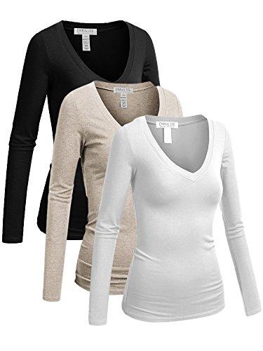 Sleeve Top Long Juniors (Emmalise Women's Casual Basic V-Neck Tshirt Long Sleeves Tee Top - 3Pk - Black, Oatmeal, White - S)