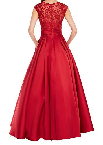 Spitze Damen Charmant A Festlichkleider Brautmutterkleider V Mit Linie Satin Rot Dunkel Ausschnitt Ballkleider Abendkleider Lang 77qrRwxdF