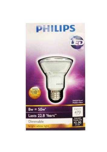 046677426118 - Philips 426114 8-Watt (50-Watt) PAR20 LED Indoor Flood Bright White Light Bulb, Dimmable carousel main 2