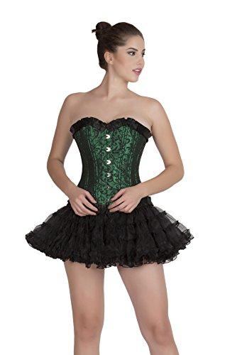説明フレキシブル咽頭Green Black Brocade DOUBLE BONE Gothic Overbust & Tissue Tutu Skirt Corset Dress