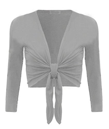 R KON Women's TIE up Crop Shrug WRAP Bolero Cardigan TOP Sizes (SM, -