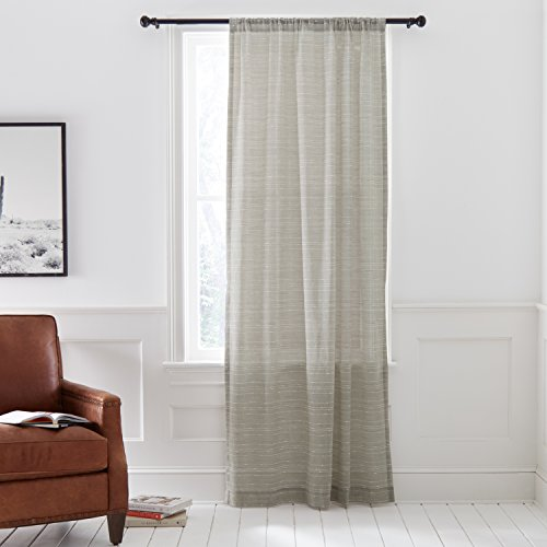 - Stone & Beam Semi-Sheer Contrast Stitch Linen Curtain Panel with Rod Pocket- 52 x 84 Inch, Grey