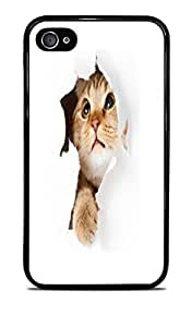 Cat Surprise Black Silicone Case for iPhone 4 / 4S