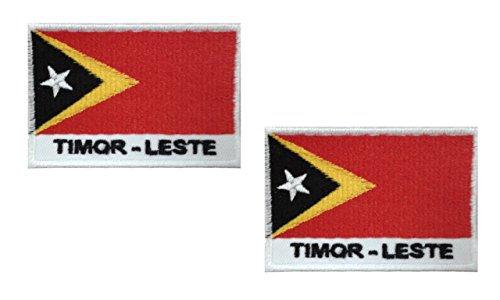 2 pieces TIMOR -LESTE Flag Iron On Patch Applique Motif South East Asia Country Decal 2.7 x 1.9 inches (6.8 x 4.8 cm)