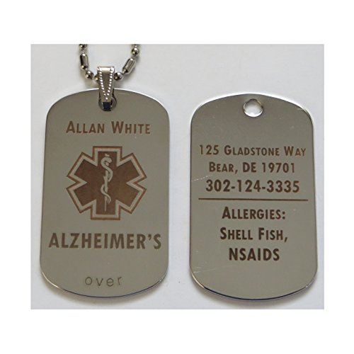Personalized Custom Engraved Alzheimer's Dementia ID Tag Pendant Necklace in Silver by LazrArt
