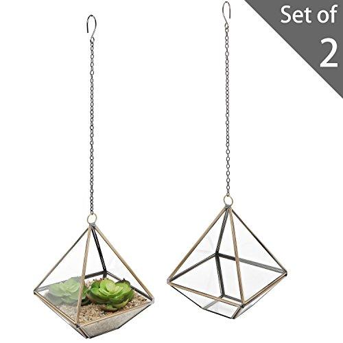 MyGift 5-Inch Hanging Glass & Metal Frame Pyramid Terrarium Planter, Set of 2 (Decorative Terrarium)