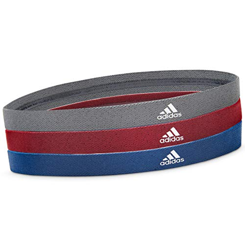 adidas Sports Hair Bands - Metallic Grey, Blue, Burgundy