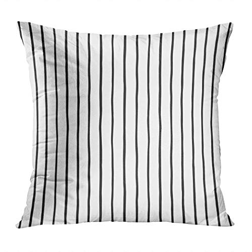 Llsty Throw Pillow Cover 20 x 20 inches Pinstripes Seamless Pattern Black Stripes Polyester Soft Square for Couch Sofa Bedroom