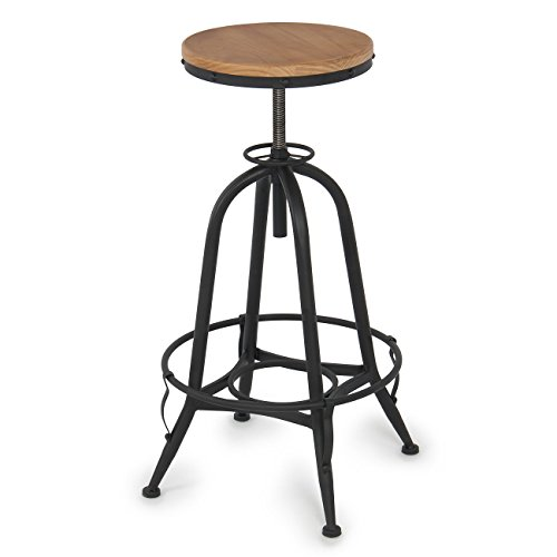 Classic Vintage Bar Stool Industrial Adjustable Height Anti Rust Swivel Home Kitchen Counter Top (Wicker Furniture Repair Nashville Tn)
