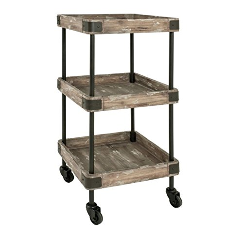 Vintage Serving Trolley - Varnished Metal Frame - Shelf Made From Solid Wood And MDF - Perfect For Serving Food And Tea/Coffee Aigner