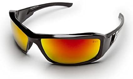 e65badfbbc Image Unavailable. Image not available for. Color  Edge Eyewear XBAP119  Brazeau Safety Glasses Black Frames Aqua Precision Red Mirror Lens