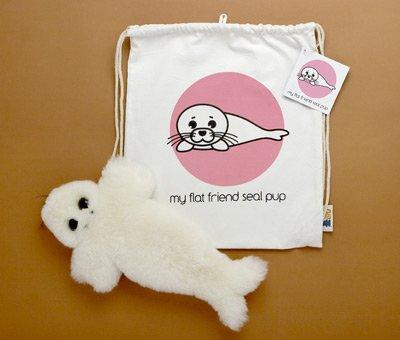 Flat Friends SEALLD Seal Pup Lambskin Soft Toy & Drawstring Bag