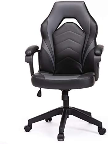 Racing Gaming Chair, Bonded Leather Home Office Chair Computer Desk Ergonomic Swivel Chair Height Adjustable Padding Armrests