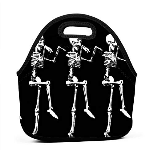 Wgthtfh Funny Skeleton Skull Multifunctional Portable Lunch Bag Food Warmer Bag Eco-Friendly Food Storage Container for Adults Kids Office -