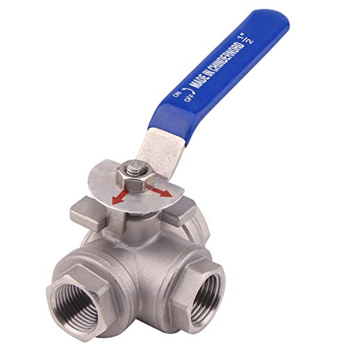 DERNORD 3-Way Ball Valve, L Mounting Pad, Stainless Steel 304 Female Type with Vinyl Locking Handle (1/2 Inch NPT) ()