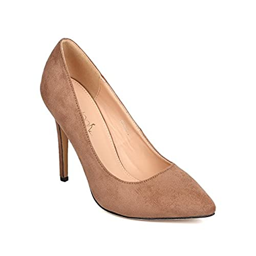 discount Women Faux Suede Pointy Toe Single Sole Stiletto Pump FE14 save more