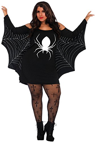 Plus Size Spider Costume - S M L XL 2XL 3XL 4XL 5XL Women Spiderweb Fancy Jersey Tunic Dress Party Costume (Black,2XL) ()