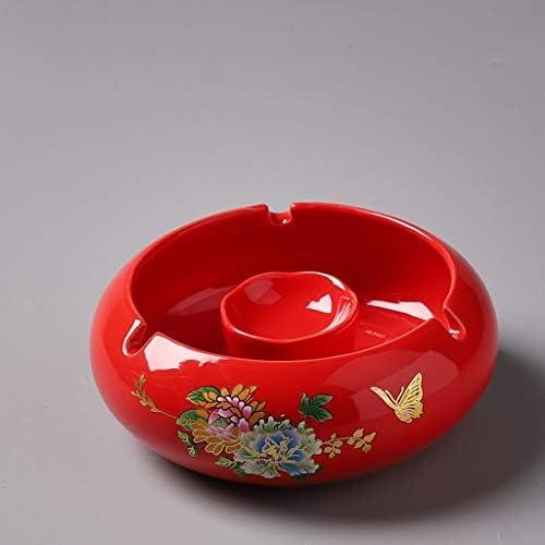 CQ セラミック牡丹灰皿クリエイティブパーソナリティスタイリッシュなリビングルームホームオフィスヨーロッパのトレンド灰皿 (Color : Red)