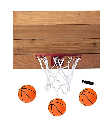 "FATPLANTS Indoor Basketball Hoop with American Cedar Wood Backboard & Durable Mini 9"" Basketball Hoop (Natural, 4 Panel)"