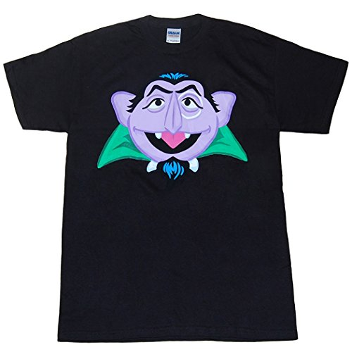Sesame Street Count Von Count Face Adult T-Shirt-X-Large (Count Sesame Street)