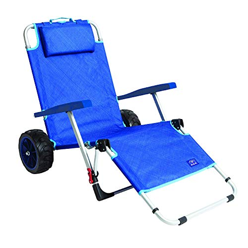Mac Sports 2-in-1 Outdoor Beach Cart + Folding Lounge Chair w/Lock | Tanning, Sunbathing, Lounging, Pool, Backyard, Porch | Portable, Collapsible with All-Terrain Wheels | Blue w/Lock (1 2 Lounge)
