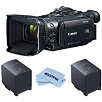 Canon XF-405 4K UHD High Definition Professional Camcorder with HDMI 2.0 & 3G-SDI Output 15x Optical Zoom - Bundle With 2 Pack Canon BP-828 2670mAh Lithium-Ion Battery Pack, Microfiber Cloth