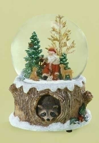 Glitterdomes 100mm Musical Glitter Dome, Features Santa with Woodland Animals on a Tree Like Base with a Racoon Peeking Out, 5.75-Inch
