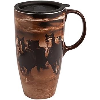 Amazon Com Running Horses Latte Travel Mug Running Horse