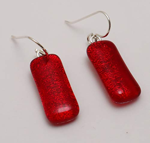 Fused long bright red dichroic glass drop rectangle earrings Sterling silver ear wires #254