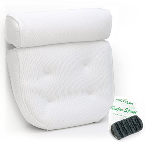 Harrison House Luxurious Bath Pillow with Konjac Bath Sponge and 4 Extra Large Suction Cups