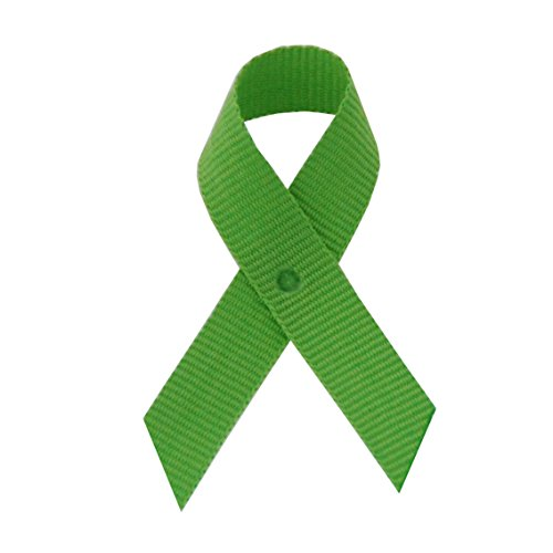 250 USA Made Lime Grosgrain Awareness Ribbons - Bag of 250 Lapel Ribbons with Safety Pins (Many Colors Available)]()