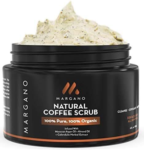 Margano Natural Face & Body Scrub. Energizing Exfoliant w/Coffee, Calendula, Moroccan Argan Oil, Almond Oil, Shea Butter| Anti Acne, Blackheads, Scars, Stretch Marks. Ultra Hydrating.