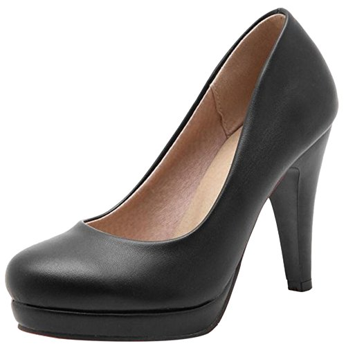 Shoes High Pumps Heel Black Women JOJONUNU Fashion 1XgHH4