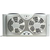 """Holmes Dual 8"""" Blade Twin Window Fan with LED One Touch Thermostat Control"""
