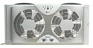 """Holmes Dual 8"""" Blade Twin Window Fan with LED One Touch Thermostat Control (B000065DK8)   Amazon price tracker / tracking, Amazon price history charts, Amazon price watches, Amazon price drop alerts"""