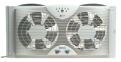 Holmes Dual Blade Twin Window fan with One Touch Thermostat