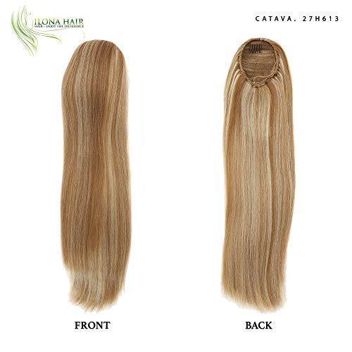 Long Blonde Ponytail Extension for woman light-colored strawberry blond, golden Hairpiece Straight crimped Hair 19 Drawstring Synthetic Hair Natural Looking Relaxed Hair cheerleading wedding prom